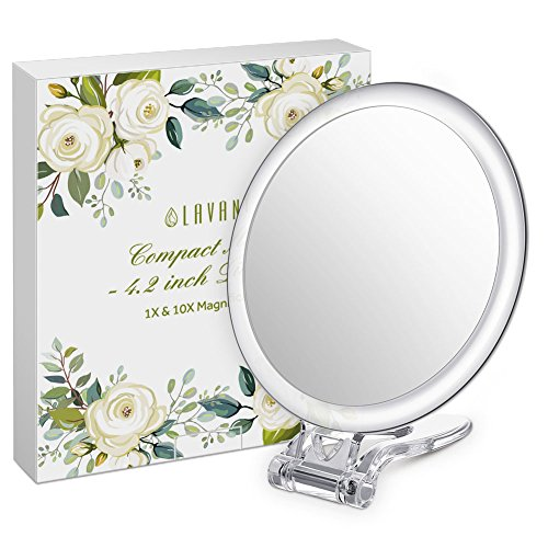 "Lavany Compact Mirror 4.2"" Travel Multifunction-Mirror for Handheld 1x & 10x Magnification, Standing or Wall-Hanging (Magnification Travel Mirror)"