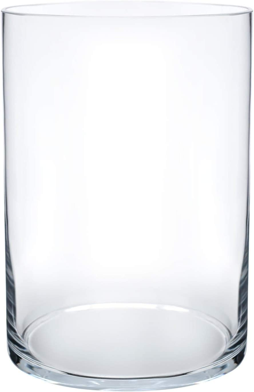 "Royal Imports Flower Glass Vase Decorative Centerpiece for Home or Wedding Cylinder Shape, 8"" Tall, 5"" Opening, Clear"