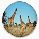 Designart CU12949-20-20-C Giraffe Family in Africa' African Throw Cushion Pillow Cover for Living Room, Sofa, 20'' Round, Pillow Insert + Cushion Cover Printed on Both Side