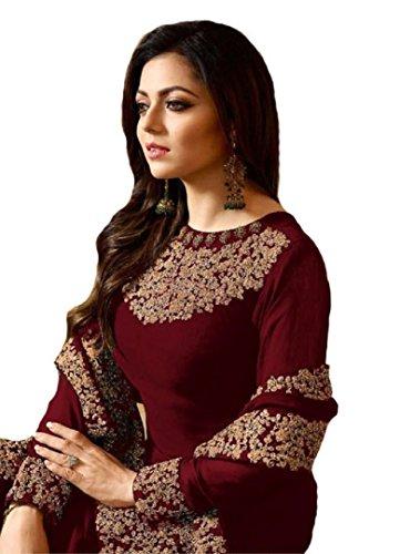 ziya Indian/Pakistani Designer Embroidered Anarkali Style Wear Salwar Kameez Lt Nitya (Maroon, ()
