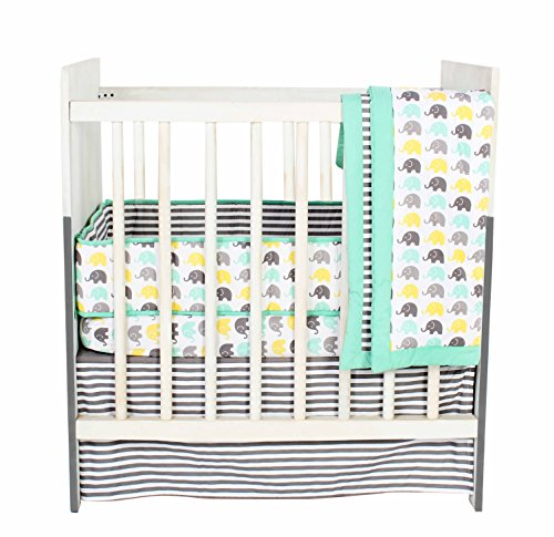 Bacati Elephants Unisex 3 Piece Portable Crib Bedding Set 100 Percent Cotton for US Standard Cribs, Mint/Yellow/Grey ()