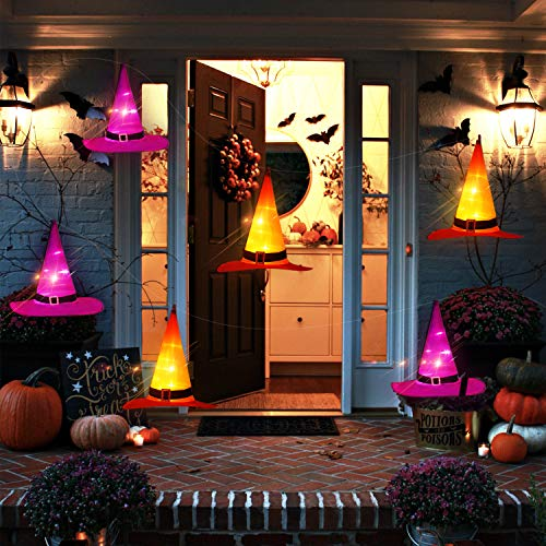 ORIENTAL CHERRY Halloween Lights - 6PCS IP67 Waterproof Hanging Witch Hat String Lights Luminaries - Halloween Decorations Outdoor for Porch Patio Pathway Garden Gate Yard Birthday Party (Outdoor Luminaries Pumpkin)