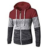 ANJUNIE Winter Mens Patchwork Hoodies Casual Slim Fit Pullover Sweatshirt with Pocket Blouse Top(Red,XXXL)