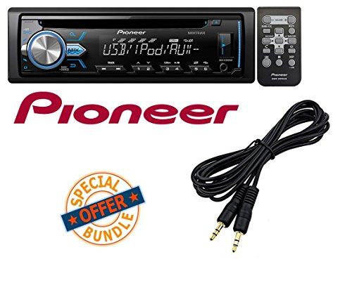 Pioneer DEH-X2900UI Single-DIN In-Dash CD Receiver with MIXTRAX, USB, Pandora Internet Radio Ready W/ Mini to Mini Audio Cable Laptop Theft Alarm