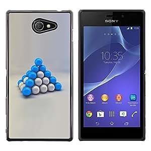 Planetar® ( Blue Balls ) Sony Xperia M2 / Xperia M2 Aqua / Sony Xperia M2 DualFundas Cover Cubre Hard Case Cover