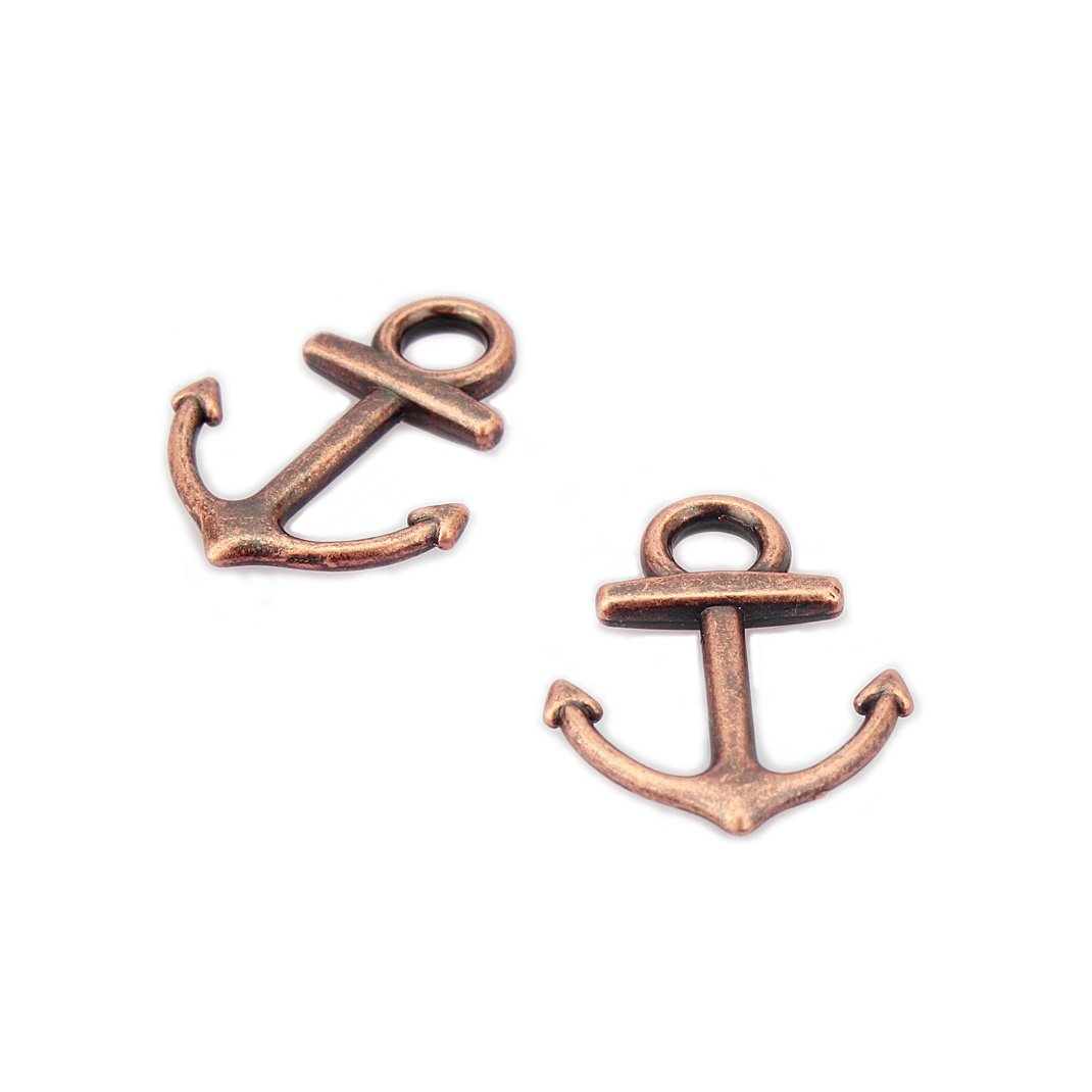 LolliBeads (TM) Antiqued Brass Bronze Anchor Charm (50 Pcs) GS616731