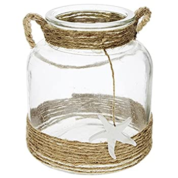 Distinctive Designs Round Clear Glass Lantern with Rope Handle & Starfish Charm 6.5""