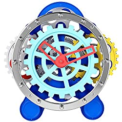 Table Clocks Decorative, SevenUp 3D Moving Gear Metal Silent Clock, Battery Powered Colorful Modern Desk Clock Non Ticking for Living Room Decor, Bedside Desktop Decoration
