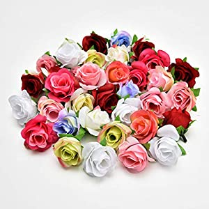 Fake flower heads in bulk wholesale for Crafts Silk Rose Artificial Flower Wedding Home Furnishings DIY Wreath Birthday Decor Sheets Handicrafts Simulation Fake Flowers 30pcs 4cm 20