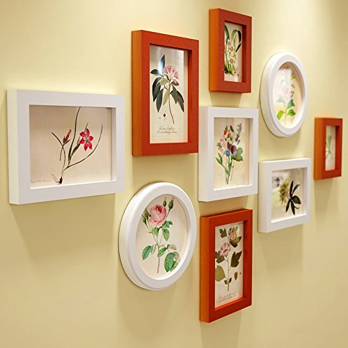 Photo Wall, Solid Wood Frame Living Room Bedroom Circle Photo Wall ...