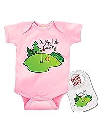 """"""" Daddy's Little Caddy (golf)"""" Cute boutique Baby bodysuit onesie & matching bib"""