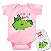 Daddy's Little Caddy (golf)  Cute boutique Baby bodysuit onesie & matching bib