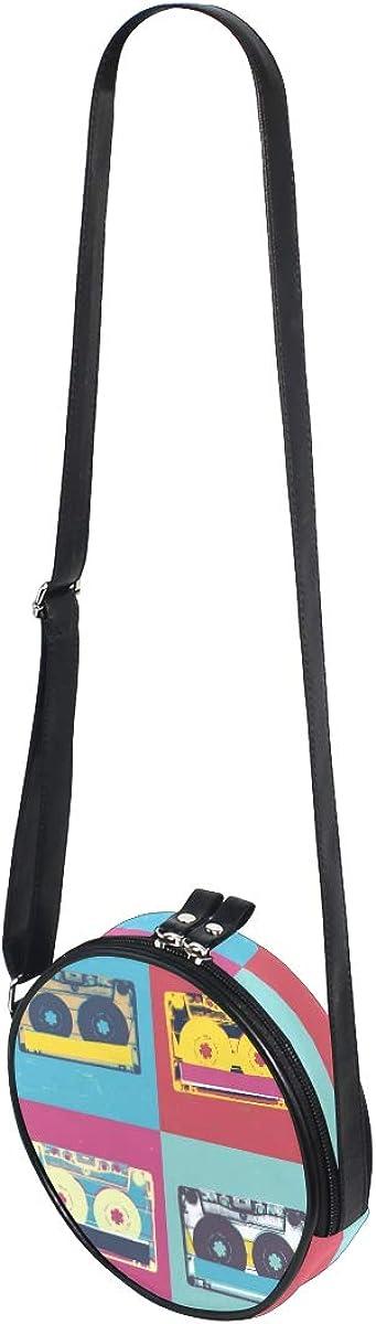 KEAKIA Audio Cassette Round Crossbody Bag Shoulder Sling Bag Handbag Purse Satchel Shoulder Bag for Kids Women
