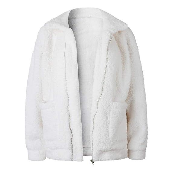Baijaiye Mujeres Invierno Abrigo de Peludo Parka de Pelo Sintética Cálida  Chaqueta con Capucha Fluffy Outwear 79a1ce2d43fb