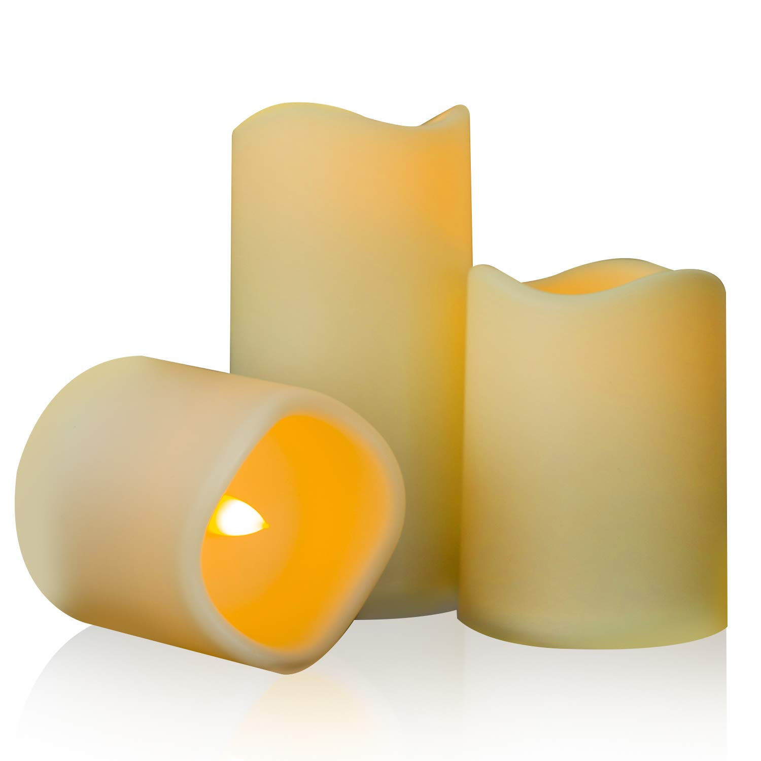 Beichi 3 Pack Outdoor Flameless Ivory Pillar Candles, Battery Operated LED Candles, Unscented Electric Plastic Candles, Home, Wedding, Party and Holiday Decoration, Warm Yellow Glow, D3 x H3/4''/6''