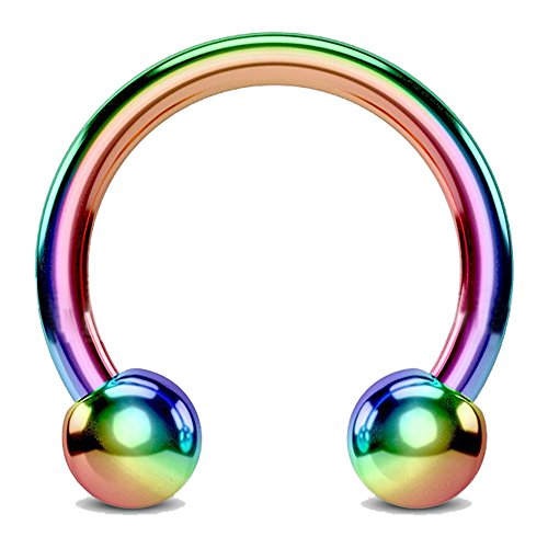 Fifth Cue Titanium IP Over 316L Surgical Steel Circular Horseshoe Barbells - CHOOSE COLOR/SIZE (Rainbow | 14GA | 1/2-12mm w/5mm Balls) (Barbells Stainless Circular)