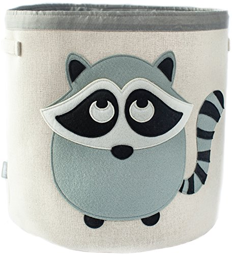 Grey Bee Animal Theme Collapsible Canvas Storage Bin for Kids, Grey - Raccoon by Grey Bee