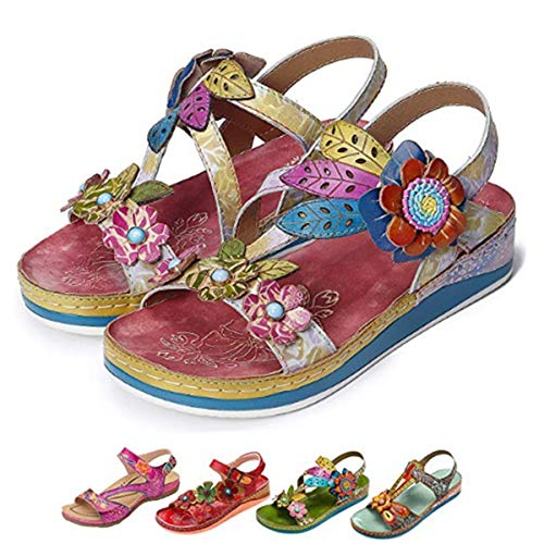 - Camfosy Leather Sandals for Women, Summer Flat Sandals Vintage Handmade Flower Pattern Low Wedge Platform Shoes Beach Non Slip Slippers Pink 11 M US