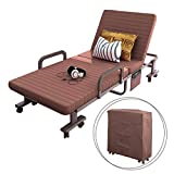 Folding Bed with Mattress, Rollaway Guest Bed for Adults and Kids-31.5'' x 74.8'' x 14.9''