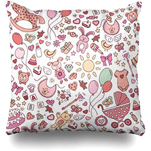 (Throw Pillow Covers Pillowcase Birthday Pink Toy Baby Abstract Festive for Doodle Sheet Birth Girl Holidays Born Bib Square Size 18 x 18 Inches Home Decor Cushion Cases )