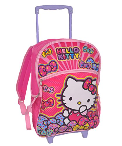 Hello Kitty Rolling Backpack Bow Large 16 School Bag Hello Kitty Rolling Backpacks