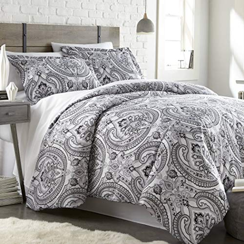 2 Piece Black Grey Classic Paisley Pattern Comforter Twin/Twin XL Set, Elegant Girly Motif Floral Reversible Bedding Gray White Bohemian Textured Design, Classic Style, Bright Colors, Soft Microfiber