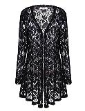 Meaneor Women's Sexy Lace Crochet Sheer Long Sleeve Open Front Cardigan Coat Style-2 Black XL