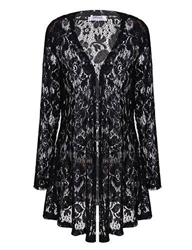 Meaneor Women's Sexy Lace Crochet Sheer Long Sleeve Open Front Cardigan Coat Style-2 Black L Lace Sheer Coat