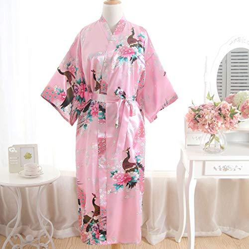 Bluestercool Damen bedruckter Kimono Langer Morgenmantel, Frauen Sexy Blossom Kimono Morgenmantel Bademantel Nachthemd Rosa|Einheitsgröße huBct5IJ UM 50 PROZENT REDUZIERT