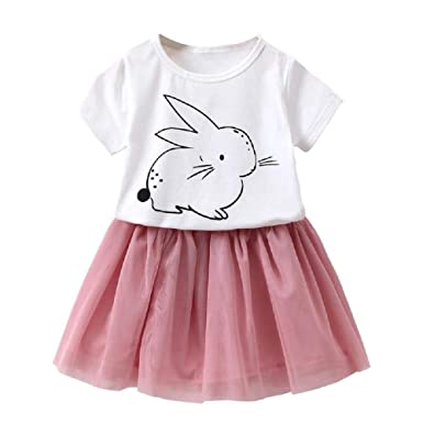 9d4fbdec783d Amazon.com: Fashion Girls Summer Cute Set Kids 2 Pieces Cartoon O-Neck Short  Sleeve T-Shirt Tops + Sweet Mini Skirt: Clothing