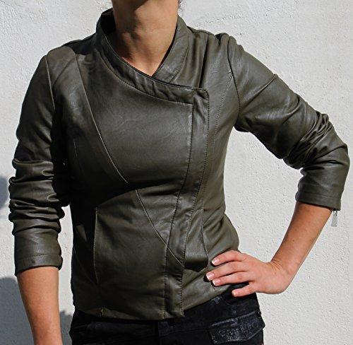 i Uni Col Manches Asymétrique Longues Femme Vert s Blouson S ASpRdqq