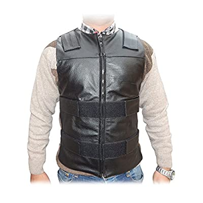 2Fit Men's Bullet Proof Style Motorcycle Biker Leather Vest-Black S-6XL