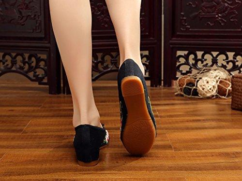 Donna Nero Icegrey Scarpe Fiore Mano Pantofola Jane Mary A Ballerine Ricamato wCp5ZxCOq