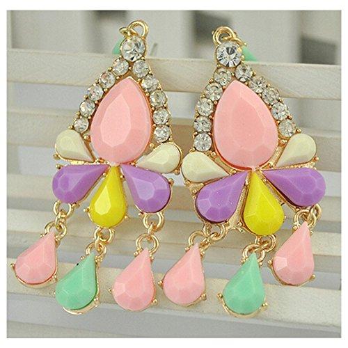 Elakaka Candy-Colored Diamond-Shaped Inlaid Earrings (Multicolor)