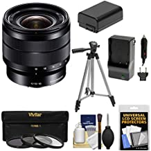 Sony Alpha E-Mount 10-18mm f/4.0 OSS Wide-angle Zoom Lens + 3 Filters + Tripod + NP-FW50 Battery & Charger Kit for A7, A7R, A7S Mark II, A5100, A6000, A6300
