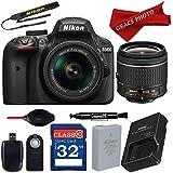 Nikon D3400 DX-format Digital SLR w/AF-P DX NIKKOR 18-55mm f/3.5-5.6G VR Lens and Professional Accessory Bundle