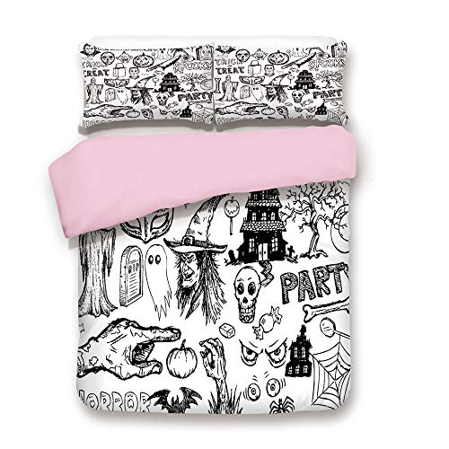 Pink Duvet Cover Set,Twin Size,Hand Drawn Halloween Doodle Trick or Treat Knife Party Severed Hand Decorative,Decorative 3 Piece Bedding Set with 2 Pillow Sham,Best Gift For Girls Women,Black -
