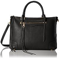 Rebecca Minkoff Women's Medium Regan Tote Leather Top-Handle Bag Satchel (Black)