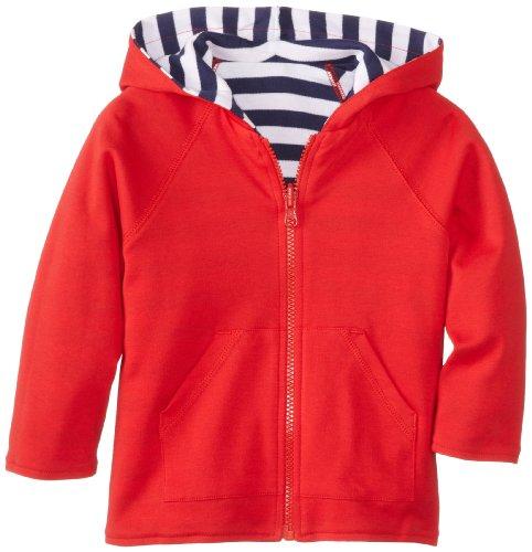 Zutano Unisex Baby Primary Stripe Reversible Zip Hooded Sweatshirt, Navy/White, 24 Months