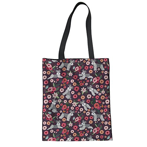 STARTERY Women's Canvas Tote Shopping Bag Schnauzer Printed Crossbody Bags Purses