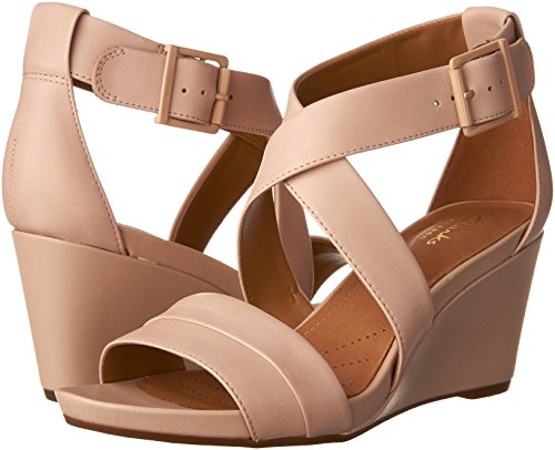 Clarks Dusty Femmes Leather Pink Compensées Sandales YvBYO