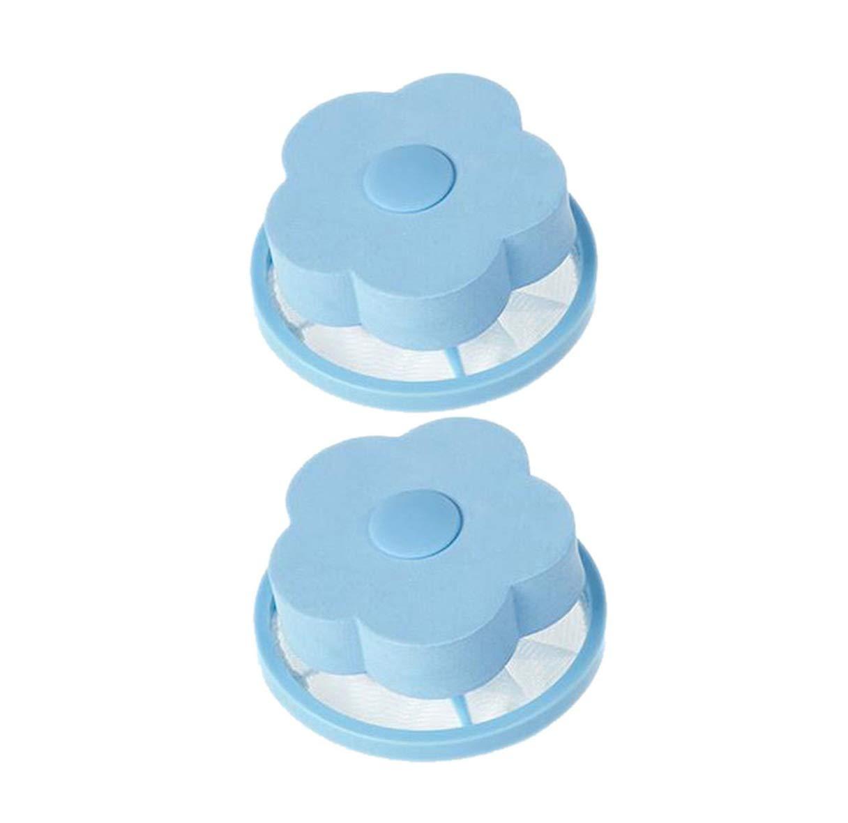 Simple and Practical Flower Washing Machine Floating Cotton Velvet Bag Hair Filter Mesh Bag (Blue)
