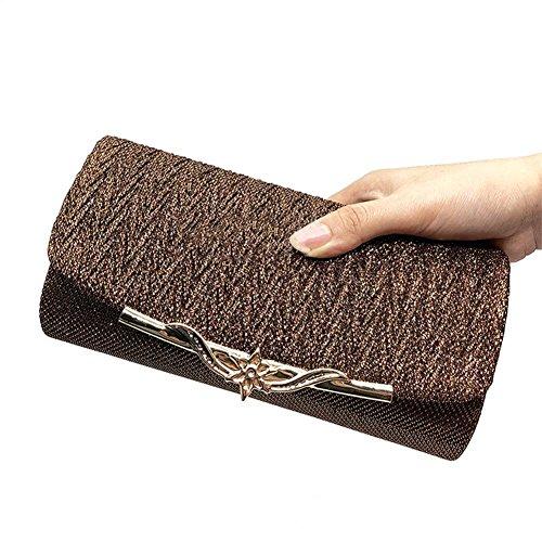 partie Brown main de à bandoulière métallique des embrayage sac à main bandoulière mariée sac femmes Soirée mariage sac à pUxHOH