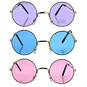 Toy Spout Set of 3 Round Retro Hippie Fashion Sunglasses - Includes Blue, Purple and Rose Colored John Lennon Style Colored Sunglasses - Hippie Costume Accessories, Cruise Accessories, Music Festival