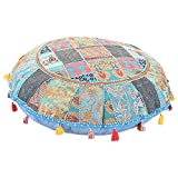 Marudhara Fashion Home Decorative Pouf Cover,Handmade Foot Stool Floor Cushion Cover Living Room Pouffe Cover Embroidered Cotton Pillow Cover,Vintage Chair Cover Ethnic Decor Art