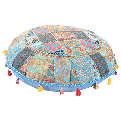 Home Decorative Pouf Cover,Handmade Foot Stool Floor Cushion Cover Living Room Pouffe Cover Embroidered Cotton Pillow Cover,Vintage Chair Cover Ethnic Decor Art (Pillows Footstools)