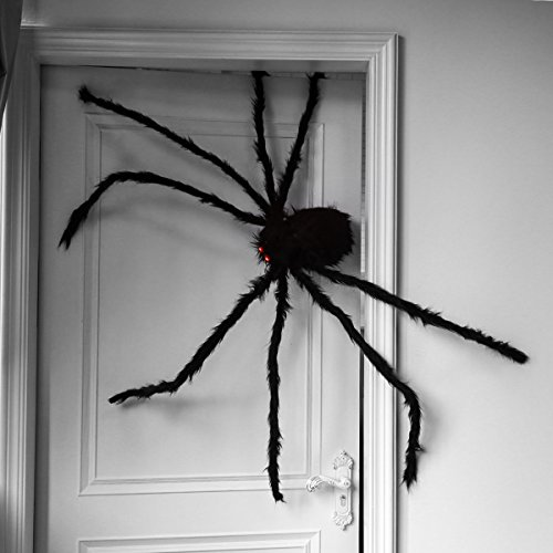 Giant Halloween Spider 4.9ft/150cm With LED Eyes Scary Spider Toys for Kids Outdoor Halloween Decorations Trick or Treat -
