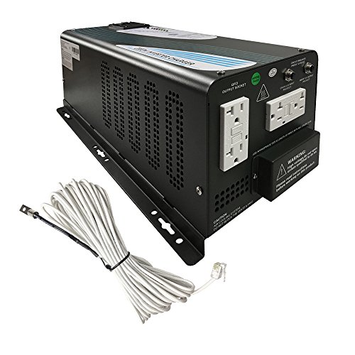 Renogy 2000Watt 12V DC to 120V AC Pure Sine Wave Inverter Charger with 4 - Shore Premium Outlets