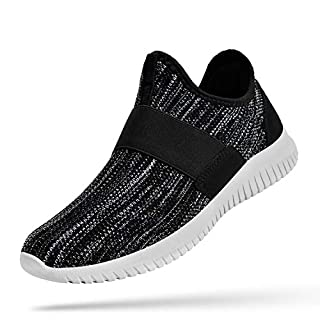 Troadlop Sneakers for Women 8.5 Gym Shoes Air Knitted Tennis Shoes Lightweight Mesh Walking Shoes Non Slip Running Athletic Shoes Black Grey 8.5 M US