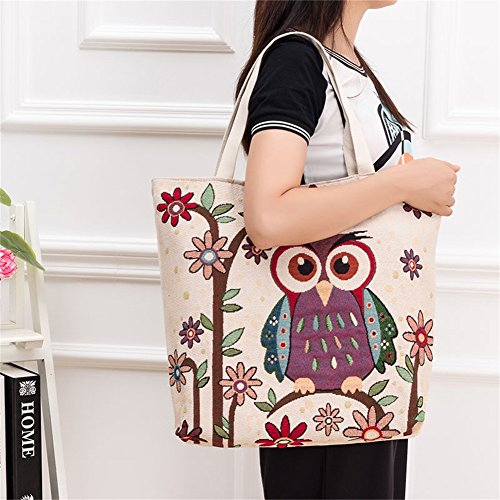 Bag Casual Shoulder ParaCity Tote Travel Embroidery Bag Pattern Shopping Owl Chinese Canvas Totem Satchel Beach White Bag Tote Handbag 1PCrXPq